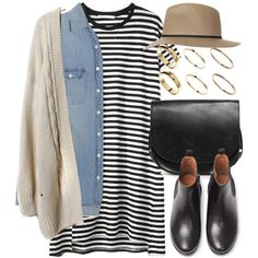 crème cardigan, light denim shirt, striped t shirt dress, tan hat, black Chelsea boots + accessories