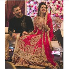 Beutifull bridal lahnga in red golden color Model# B 907 – Nameera by Farooq Asian Bridal Dresses, Bridal Outfits, Indian Dresses, Pakistan Bride, Pakistan Wedding, India Wedding, Desi Wedding, Wedding Groom, Wedding Gifts