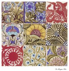 """De Morgan tile ~ William Morris #pattern #Morris - thinking this might be great printed small (on gloss paper) and use a 1"""" punch"""