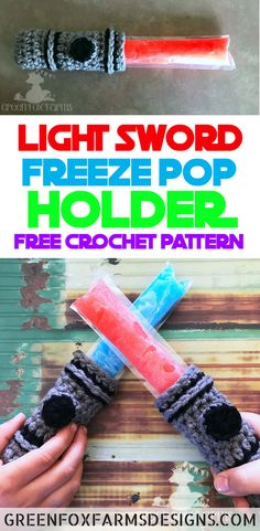 Light Sword Popsicle Holder - Free Crochet Pattern - Freeze Pop Holder - Crochet Popsicle Cozy - www.greenfoxfarmsdesigns.com