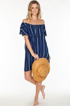 Short Sleeve Striped Off the Shoulder Dress - Navy/White