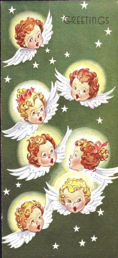 Angels and Stars Vintage Christmas Card