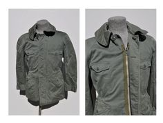 vintage military field jacket AIR FORCE mans cotton sateen sage green 509 dated 1957.