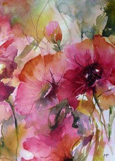Les sauvageonnes (Painting), 25x17 cm by Véronique Piaser-Moyen Aquarelle originale sur papier 300G