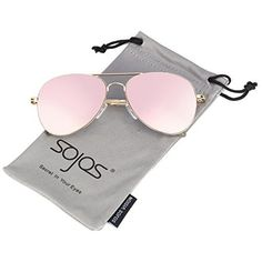 8ca1477d9178 SojoS Classic Aviator Mirrored Flat Lens Sunglasses Metal Frame with Spring  Hinges SJ1030 With Gold Frame