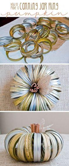 DIY: Canning Jar Lid Pumpkins