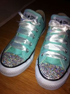 Blinged up Converse #diamante #DIY - credit for these goes to Alice Rocks :) #promshoesconverse