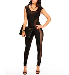 Black Mesh Bodysuit for a night out with the girls if i actually clubbed. this fit would be right. this will force you to be brave though. lol