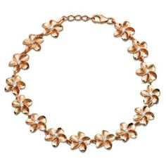 Plumeria Bracelet with 14K Rose Gold Finish and CZs - 10mm Honolulu Jewelry Company. $95.00