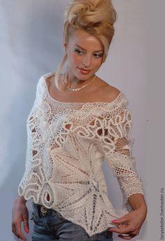 Купить Пуловер,,Сказка,, - белый, пуловер вязаный, пуловер женский, пуловер, авторская ручная работа