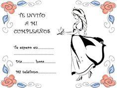 Invitaciones para colorear de princesas y flores para fiestas de cumpleaños Fictional Characters, Birthday Invitations, Birthday Cards, Colors, Parties