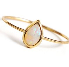 Opal 14k Rose Gold Ring - Opal Statement Ring, Opal Solitaire Ring - Teardrop Opal Ring, Opal Engagement Ring- Wedding Ring