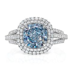 2.61ct VVS1 Fancy Blue Diamond Ring by Scarselli Diamonds