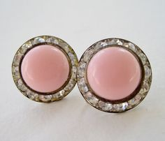 Vintage 50s Mid Century Hollywood Regency Silvertone Channel Set Clear Rhinestone Light Pink Lucite Cabochon Domed Earrings by ThePaisleyUnicorn, $7.00