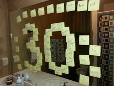 Birthday Surprise Thirty Things I Love about my Thirty Year Old-- I put the post-its up on the mirror after my husband went to bed, so he would be surprised in the morning. He loved it!