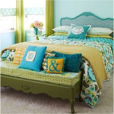 DIY room. mustard, aqua, char-truce and teal. These are the colors of my family room
