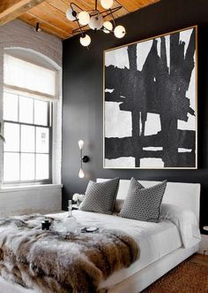 Cz Art Design Hand Painted Black And White Minimal Horizontal Canvas Painting