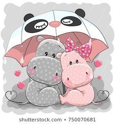 Cute Cartoon Hippos with umbrella. Two Cute Cartoon Hippos with umbrella under the rain vector illustration Cartoon Cartoon, Cartoon Hippo, Cute Cartoon Animals, Cartoon Images, Cute Animals, Couple Cartoon, Cartoon Characters, Tatty Teddy, Cute Hippo
