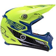 2013 Lazer Smx Motocross Helmets - Mx8 Carbon Tech Flou Yellow Blue - 2013 Lazer Motocross Helmets - 2013 Motocross Gear - by