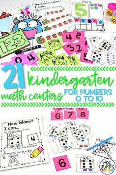 Looking for some fun kindergarten math centers to help your students with numbers 0 to 10? These math centers include counting activities, number recognition activities, and one-to-one correspondence activities for numbers to 10.