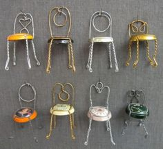 Tiny Wire Chairs Made With Champagne Caps and Wires....hahaha so cute.
