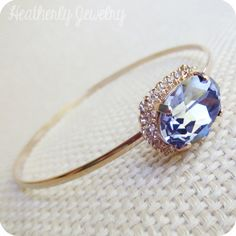 Halo: tanzanite + clear swarovski crystal jeweled rose gold bangle stacking bracelet - bridal collection bridesmaid gift by HeatherlyDesigns on Etsy