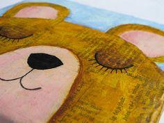 5letshop: Szendergő maci - falikép kézzel festett mackó kép, gyerekszoba dekoráció Wall art -  bear mixed media painting