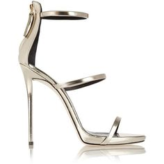 Giuseppe Zanotti Coline metallic leather sandals ($820) ❤ liked on Polyvore featuring shoes, sandals, heels, sapatos, chaussures, black sandals, high heels stilettos, platform sandals, high heel shoes and black stilettos
