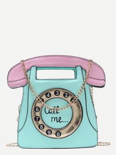 Mint and Pink Telephone Shaped Bag With Chain Strap Green Handbag 126f4e2c0813c