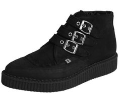 3 Buckle Black Waxy Suede Pointed Creeper Boot - A8996   T.U.K. Shoes
