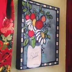 At Camp Create I learned how to paint Jenni Horne style by @artsyorange and it is the first time I have ever hung up something that I created! #thankyoujennihorne #jennihornestudios #masonjar #whatevercampcreate
