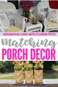 Repurposed vegetable cans into fabric covered flower pots to match your porch pillows. Diy House Projects, Easy Sewing Projects, Diy Craft Projects, Crafts To Make, Diy Crafts, Paper Crafts, Repurposed Items, Quilting For Beginners, Container Flowers