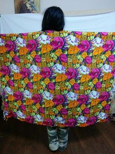 BUY IT NOW! FREE SHIPPING! Bold Floral Sarong Shawl Beach Cover Wrap Rayon Pink Orange Green Fringe  | eBay