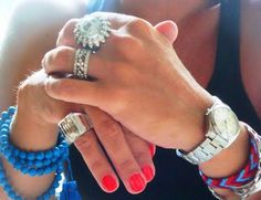 Rings, bracelets, nail color... everything really.