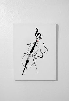 """""""Lady Violoncelle"""" - Acrylic painting on canvas - $40 - 9"""" W. x 12"""" H. x 0.75"""" D.  (23 cm L. x 30 cm H. x 2 cm P.) - Unframed - on sale at: http://clemart.storenvy.com/products/1230016-lady-violoncelle  www.clementinedjite.wix.com/arts  www.facebook.com/ClementineDjite"""