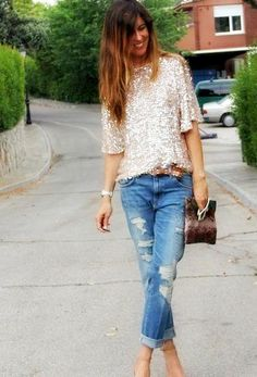 Make tattered jeans look chick with a pretty sequined top