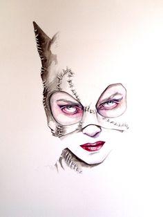 Cat Woman, mulher gato, desenho, ilustração, super-heróis.                                                                                                                                                                                 More