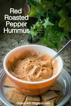 Grain Crazy: Red Roasted Pepper Hummus. So good my family scraped the bowl clean. #chia