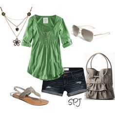 ✔ h&m green rolled sleeve top, denim shorts, metallic beaded strappy sandals