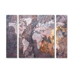 'World Map Rock' by Michael Tompsett 3 Piece Graphic Art on Wrapped Canvas Set