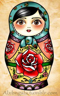 Tattoo Tattoos Matryoshka Russian Nesting Doll Traditional By