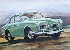 The green Volvo captured by James R Spurlock. Watercolor on paper, original size is 14 inches by 18 inches.
