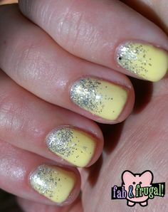 Fab & Frugal Gal: Yellow Glitter Ombre Mani - Cute easy , can be done with regular polish or with GEL polish.
