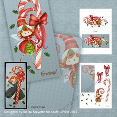 "A modern remake of a vintage classic, this 3.5x7"" card features an adorable holiday fairy holding a giant candy cane adorned with a bow with holly leaves fluttering around.  Art by Hafapea & AMB Illustrations.  #CardMakingKits #CraftsUPrint #LisaMayette #Hafapea"