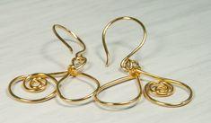 Unique Earrings, Heart Shaped Earrings, Gold Fill, 14K, Wire Wrapped Technique.