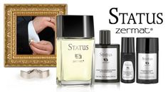 Fragancia STATUS caballero 100ml, loción para después de afeitar STATUS 70ml, desodorante roll on STATUS 80g, desodorante barra STATUS 60g.