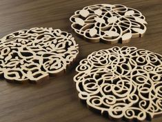Hardwood Graphic Coasters Vines Series by FivePlyDesign on Etsy Laser Art, Laser Cut Wood, Laser Cutting, Custom Coasters, Wood Coasters, Flower Wall Backdrop, Things Under A Microscope, Cnc Projects, Wooden Kitchen