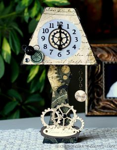 """Wow!  Another fabulous Lamp for the SVGCuts FB Lamp Challenge made by Ilda!  She used the Lamp and the Clock (both from MAISON De MADELINE SVG KIT) along with just the right papers and embellishments to create her beautiful """"time flies"""" lamp!"""