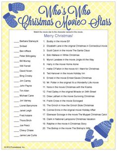 Fun Christmas Party Game : Christmas Movie Trivia - matching actors to their role in famous Christmas movies, printable Christmas games. Famous Christmas Movies, Christmas Movie Trivia, Fun Christmas Party Games, Xmas Games, Printable Christmas Games, Holiday Games, Christmas Activities, Family Christmas, Christmas Traditions