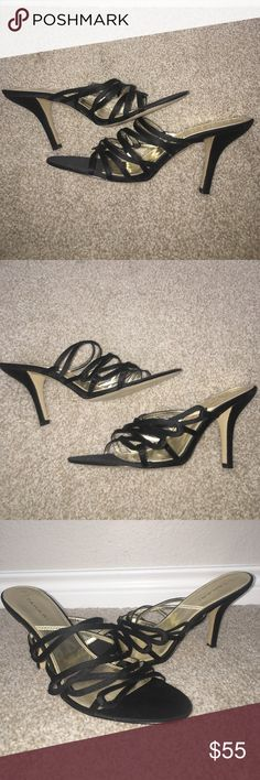 New Tahari Satin Black Heels Sandals Size 10 Satin Tahari strappy sandals.  2.75 inch heel.  Sticky price tag residue on bottom of left sole.  No box.  Style name is Christine. Tahari Shoes Sandals